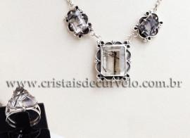 Conjunto Prata 950 Luxo Turmalina Estilo Dinamarquês 111570