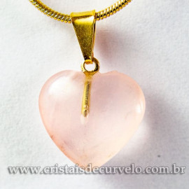 Pingente Mini Coração Quartzo Rosa Pedra Natural Dourado