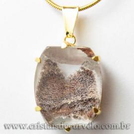Pingente Pedra Cristal Lodolita Baguette Garra Dourada 112948