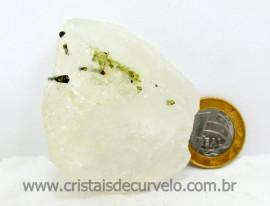 Turmalina Verde Canudo Extra Incrustado no Cristal Branco para Colecionar Cod 83.8