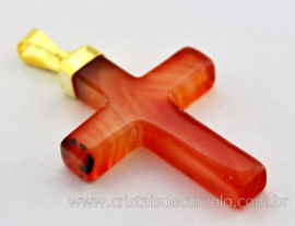 Crucifixo Agata Cornalina Pingente Cruz Pedra Natural Montagem Envolto Banho Flash Dourado