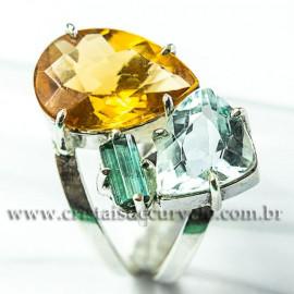 Anel  3 Pedras Citrino Topazio e Turmalina verde Ajustável e Prata 950