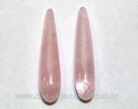 4 Pares Gota Longa pra Pingente ou Brinco Pedra Quartzo Rosa Lapidado 35 x 8 mm