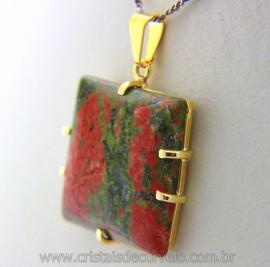 Pingente Unakita Quadrado Liso Pedra Natural Montagem Garra Dourado