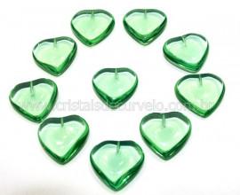 10 Coração Pedra Obsidiana Verde Furado Pra Montagem 23x25mm REFF CF4509