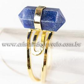 Anel Pontinha Quartzo Azul Bi Ponta Ajustavel Dourado 112582