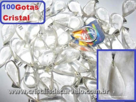100 Gotas CRISTAL Pedra Quartzo Pingente Banhado Prata