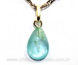 Pingente Gota Pedra Topazio Azul Pino Prata 950 Reff PG9792