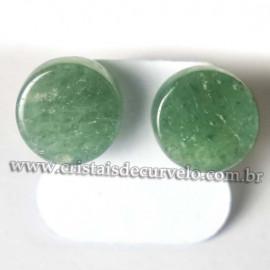 Brinco Botton Pedra Quartzo Verde Pino Tarraxa Banho Dourado