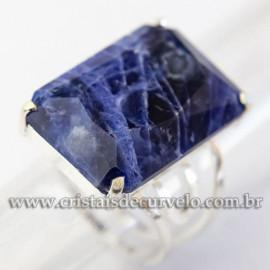 Anel Pedra Sodalita Azul Prata 950 Facetado Aro Ajustavel 113045