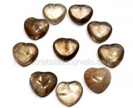 10 Coração Pedra Quartzo Fume Furado Pra Montagem 23x25mm REFF CF4376