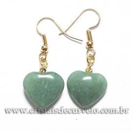 Brinco Coração Pedra Quartzo Verde Montagem Anzol Dourado