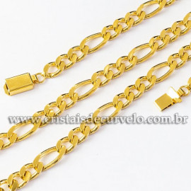 Cordão ou Correntinha Modelo FÍGARO GRANDE Dourada 112515