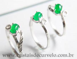 03 Anel Pedra Jade Verde Oval Liso Prata 950 Aro Fixo
