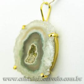 Pingente Flor de Ametista Pedra Natural Garra Dourado 120609