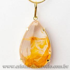 Pingente Gota Hematoide Amarelo Pedra Garra Dourado 112540
