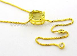 Colar Gravata Pedra Green Gold Natural Dourado Reff CG7544