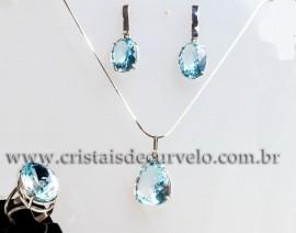 Luxuoso Conjunto Gemas Topazio Azul Natural Prata 950 111592