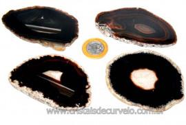 Chapa de Agata Negra Para Porta Copos Ou Montagem de Artesanato Tamanho M Reff CA2879