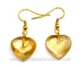 Brinco Coração Pedra Citrino Montagem Anzol Dourado Reff BC7970