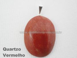Pingente Cabochão QUARTZO VERMELHO Pedra Natural Pino Banho Prata