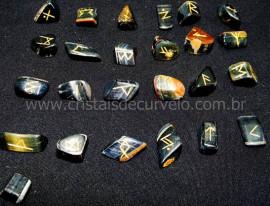 Jogo de Runas Alfabeto Antiga Europa Viking 25 Pedras Natural Olho de Falcao