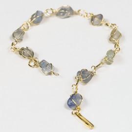 5 Pulseira Pedra Quartzo Azul Na Gaiola Banho Dourado ATACADO