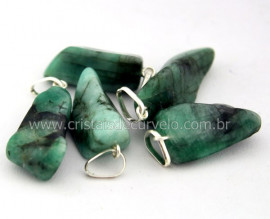 10 Pingente Pedrinha Esmeralda Natural Castoação Prata 950 Pino e Perinha