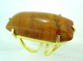 Anel Jaspe Amarelo Cabochão Retangular Pedra Natural Montagem Banho Flash Dourado Aro Ajustavel