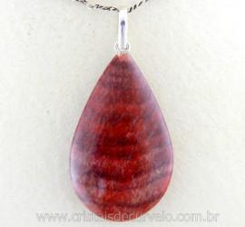 Pingente Gota Pedra Dolomita Vermelha Castoação Prata 950 Pino e Perinha