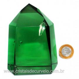 Ponta Obsidiana Verde Cristalizada Transparente Cod 127480