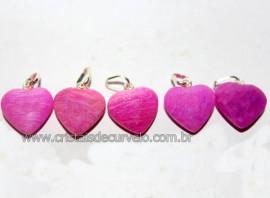 05 Mini Pingentes Coração Amazonita Pink Pino Prata Reff MP4756