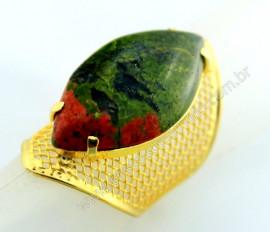 Anel Tela Pedra Unakita Navete Armação de Luxo Elegante Ajustavel  Dourado AC5510