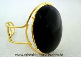 Bracelete Fixo Pedra Onix Preto Grande Dourado Ouro REFF BG3383