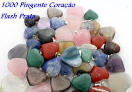 1000 Pingente Coração Pedras MISTO Montagem Pino Banho Prateado ATACADO