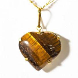 Pingente Extra Coração Pedra Olho de Tigre Montagem Garra Dourado