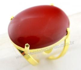 Anel Jaspe Vermelho Cabochão Oval Pedra Natural Montagem Banho Flash Dourado Aro Ajustavel