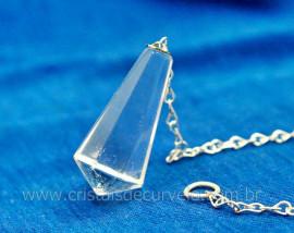 Pendulo CRISTAL Piramidal ou Invertido Quartzo Comum Corrente de Brinde