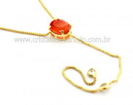 Colar Gravata Pedra Agata Cornalina Banho Dourado Ref CG5288