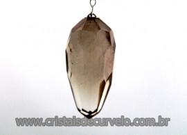 Pendulo Feng Shui ou Pendulo Briolet Pedra Quartzo Fumê Brinde Corrente