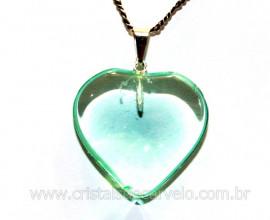 Pingente Coração Pedra Obsidiana Verde Montagem Pino Banho Prateado