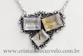 Colar Prata 950 Luxo Pedra Rutilo Estilo Dinamarquês 111574