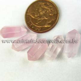 05 Micro Pontinha Bi Ponta Cristal Rosa 15mm pra montar joias