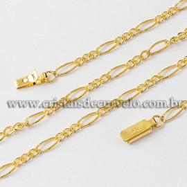Cordão ou Correntinha Modelo FÍGARO 60CM Dourada Reff 112512