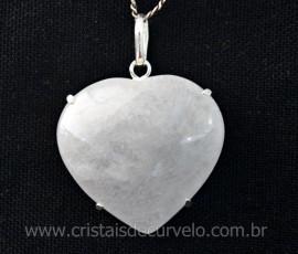 Pingente Coração Quartzo Leitoso Prata 950 Garra REFF CP9912