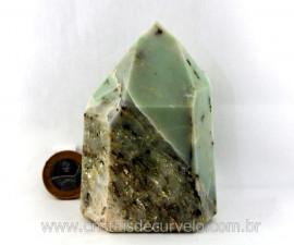 Ponta Pirofilita Verde Lapidado Pedra Com Dendrita Ideal Colecionador Cod 503.8