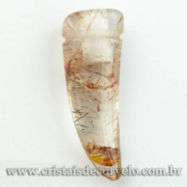 Pingente Pedra Cristal Rutilado Dente de Dragão Difusor Aromaterapia