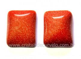 Par Retangulo Pedra do Sol Para Montagem Brinco Reff RB4492
