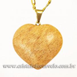 Pingente Coraçao AMAZONITA ROSA Pedra Natural Pino Dourado