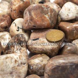 1kg Turmalina Preta no Feldspato Natural Rolado Tamanho Grande